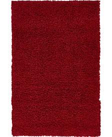 "Bridgeport Home Exact Shag Exs1 Cherry Red 3' 3"" x 5' 3"" Area Rug"