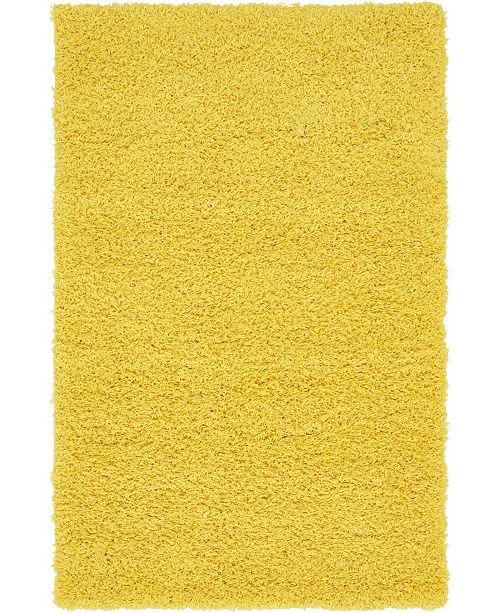 """Bridgeport Home Exact Shag Exs1 Tuscan Sun Yellow 3' 3"""" x 5' 3"""" Area Rug"""