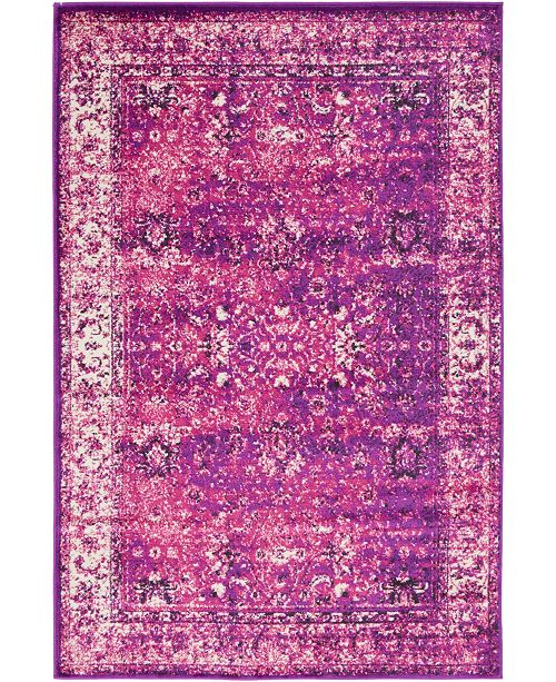 Bridgeport Home Linport Lin1 Lilac 4' x 6' Area Rug