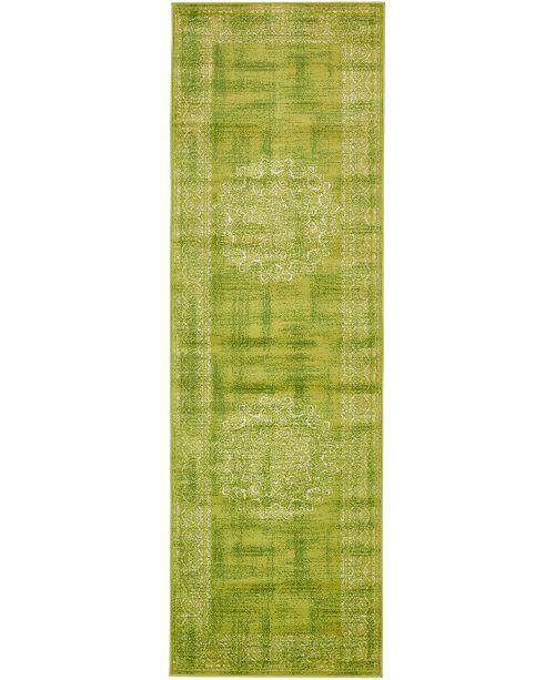 """Bridgeport Home Linport Lin5 Light Green 3' x 9' 10"""" Runner Area Rug"""