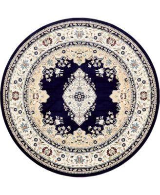 Zara Zar1 Navy Blue 10' x 10' Round Area Rug
