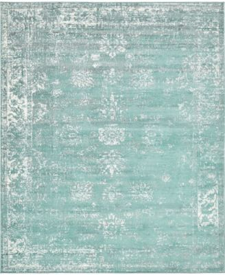 Basha Bas1 Turquoise 6' x 6' Square Area Rug