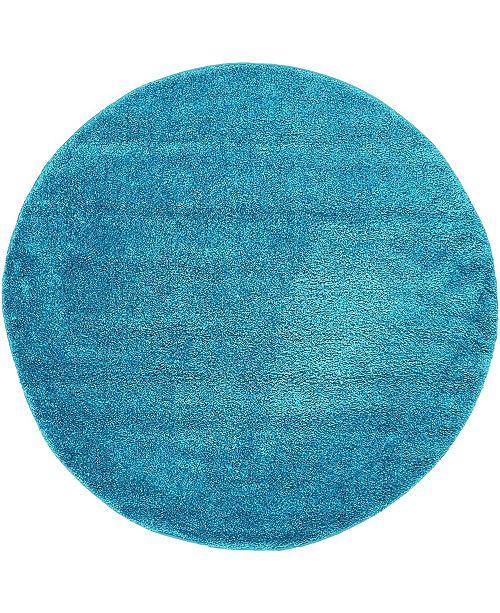 Bridgeport Home Uno Uno1 Turquoise 6' x 6' Round Area Rug