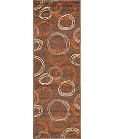 Jasia Jas05 Brown 2' x 6' Runner Area Rug