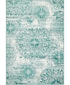 Bridgeport Home Basha Bas7 Turquoise 4' x 6' Area Rug
