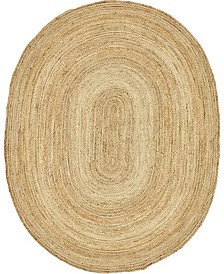 Bridgeport Home Braided Jute C Bjc5 Natural 8' x 10' Oval Area Rug