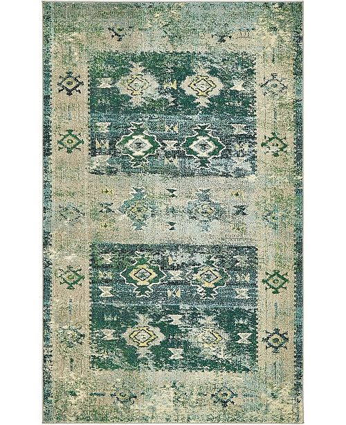 Bridgeport Home Newhedge Nhg3 Green 5' x 8' Area Rug