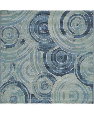 Pashio Pas1 Light Blue 6' x 6' Square Area Rug