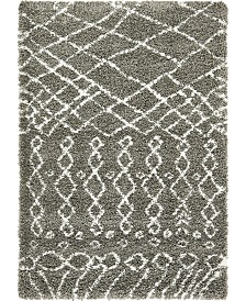 Bridgeport Home Fazil Shag Faz2 Gray 4' x 6' Area Rug