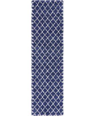 "Fazil Shag Faz4 Navy Blue 2' 7"" x 10' Runner Area Rug"