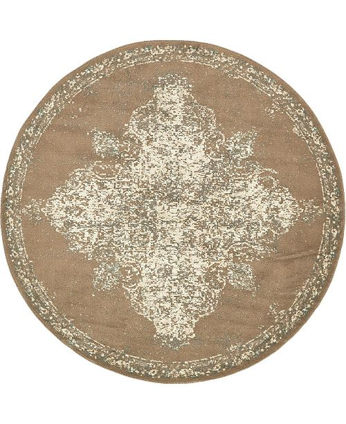 Bridgeport Home Tabert Tab7 Brown 8' x 8' Round Area Rug