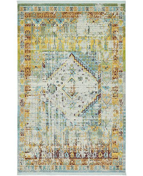 """Bridgeport Home Kenna Ken2 Light Blue 5' 5"""" x 8' Area Rug"""