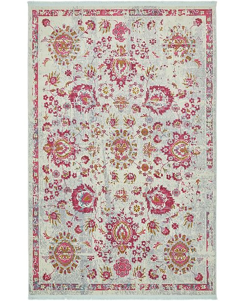 "Bridgeport Home Kenna Ken1 Light Blue 5' 5"" x 8' Area Rug"