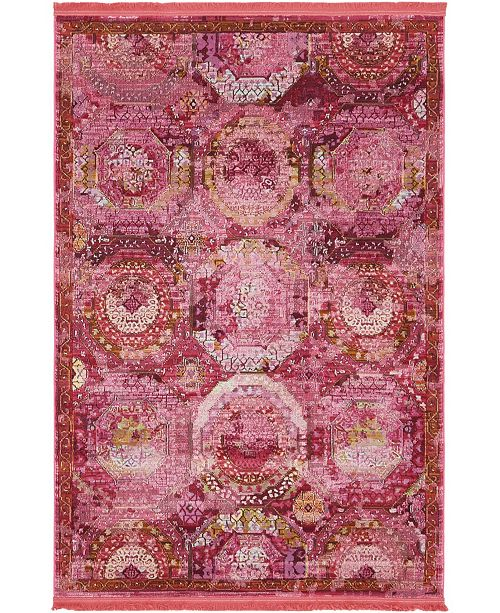 "Bridgeport Home Kenna Ken4 Pink 4' 3"" x 6' Area Rug"