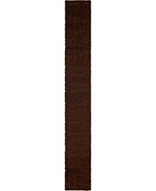 "Exact Shag Exs1 Chocolate Brown 2' 6"" x 19' 8"" Runner Area Rug"