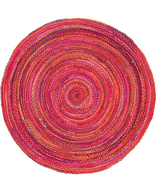Bridgeport Home Roari Cotton Braids Rcb1 Red 8' x 8' Round Area Rug