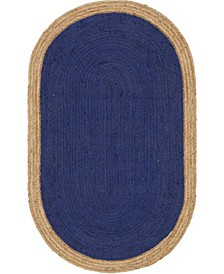 Braided Jute A Bja4 Navy Blue 5' x 8' Oval Area Rug