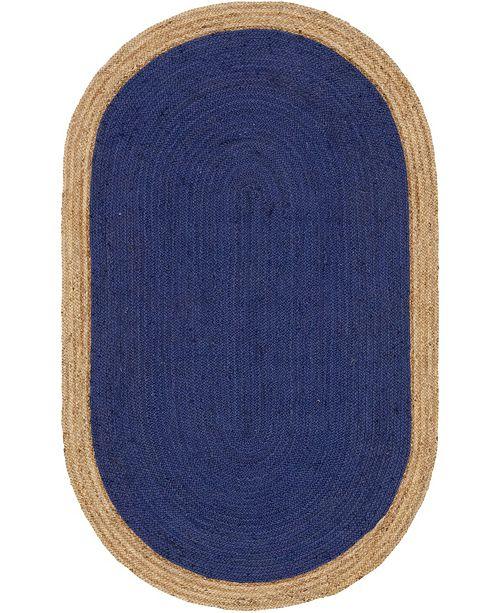 Bridgeport Home Braided Jute A Bja4 Navy Blue 5' x 8' Oval Area Rug