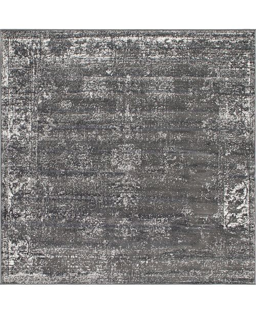 Bridgeport Home Basha Bas1 Dark Gray 8' x 8' Square Area Rug