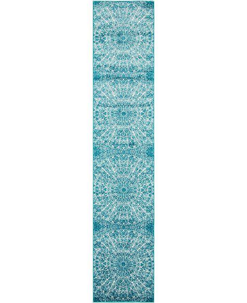 """Bridgeport Home Basha Bas4 Turquoise 3' 3"""" x 19' 8"""" Runner Area Rug"""