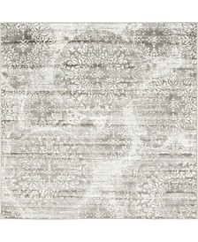 Bridgeport Home Basha Bas7 Gray 6' x 6' Square Area Rug