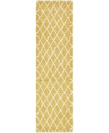 "Bridgeport Home Fazil Shag Faz3 Yellow 2' 7"" x 10' Runner Area Rug"