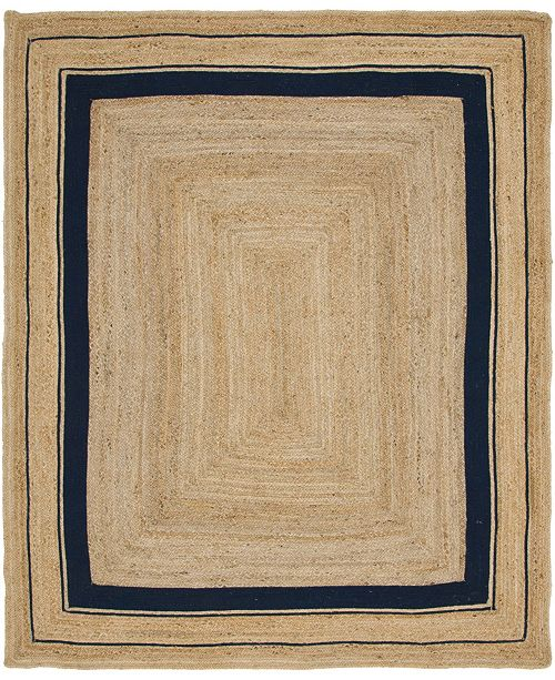 Bridgeport Home Braided Border Brb1 Natural/Navy 8' x 10' Area Rug