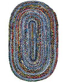 "Bridgeport Home Roari Braided Chindi Rbc1 Blue/Multi 3' 3"" x 5' Oval Area Rug"