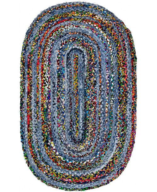 """Bridgeport Home Roari Braided Chindi Rbc1 Blue/Multi 3' 3"""" x 5' Oval Area Rug"""