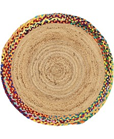 "Bridgeport Home Chindi Border Chb2 Natural 3' 3"" x 3' 3"" Round Area Rug"
