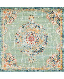 Lorem Lor1 Green 8' x 8' Square Area Rug