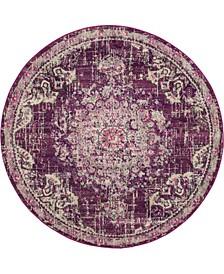 Lorem Lor1 Purple 6' x 6' Round Area Rug