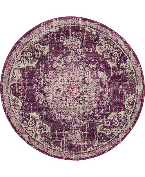 Bridgeport Home Lorem Lor1 Purple 6' x 6' Round Area Rug
