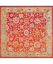 Bridgeport Home Lorem Lor3 Red 8' x 8' Square Area Rug