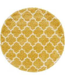 Bridgeport Home Fazil Shag Faz5 Yellow 5' x 5' Round Area Rug