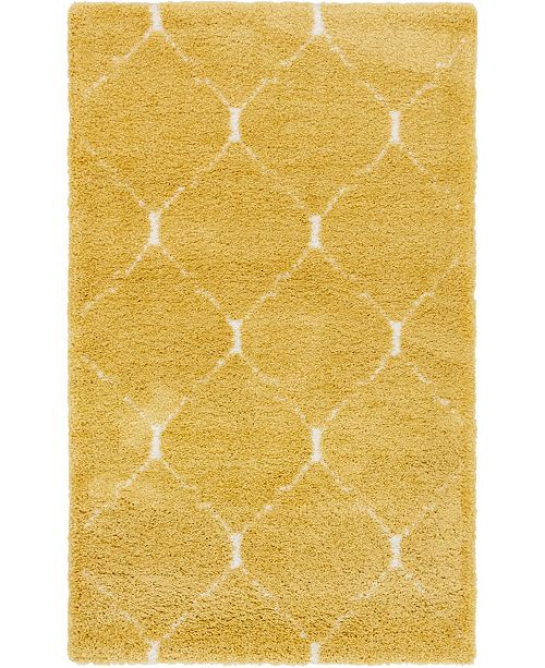 Bridgeport Home Fazil Shag Faz5 Yellow 5' x 8' Area Rug