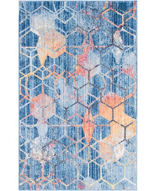 """Bridgeport Home Prizem Shag Prz1 Blue 3' 3"""" x 5' 3"""" Area Rug"""