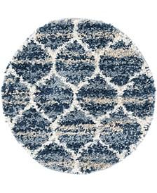 """Lochcort Shag Loc1 Blue 3' 3"""" x 3' 3"""" Round Area Rug"""