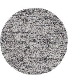 Lochcort Shag Loc3 Gray 5' x 5' Round Area Rug