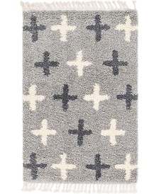 Bridgeport Home Lochcort Shag Loc7 Light Gray 4' x 6' Area Rug