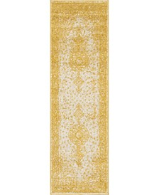 "Mobley Mob1 Yellow 2' x 6' 7"" Runner Area Rug"