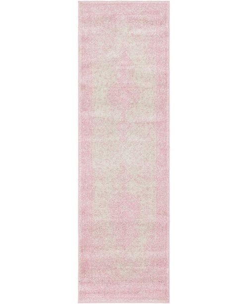 "Bridgeport Home Mobley Mob1 Pink 2' x 6' 7"" Runner Area Rug"