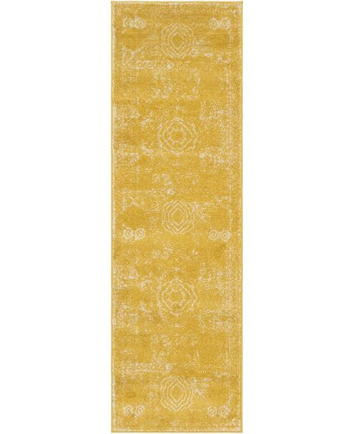 "Bridgeport Home Mobley Mob2 Yellow 2' x 6' 7"" Runner Area Rug"