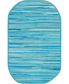 "Bridgeport Home Jari Striped Jar1 Turquoise 3' 3"" x 5' Oval Area Rug"