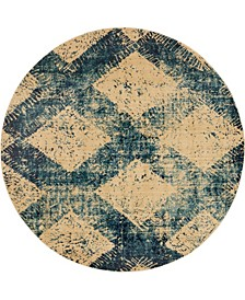 Thule Thu4 Blue 8' x 8' Round Area Rug