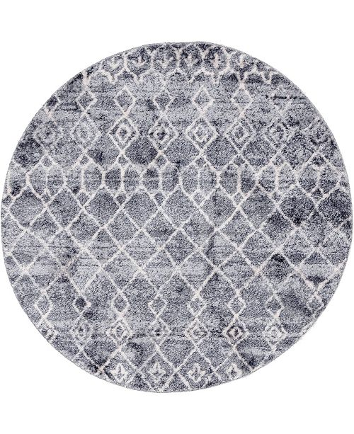 "Bridgeport Home Levia Lev1 Dark Gray 4' 7"" x 4' 7"" Round Area Rug"