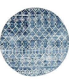 "Levia Lev1 Dark Blue 4' 7"" x 4' 7"" Round Area Rug"