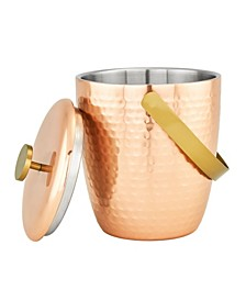International Aura Hammered Copper Double Walled Ice Bucket, 2.3-Quart