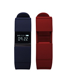 iFitness Activity Tracker with Navy Strap and Bonus Red Strap