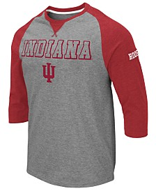 Colosseum Men's Indiana Hoosiers Team Patch Three-Quarter Sleeve Raglan T-Shirt